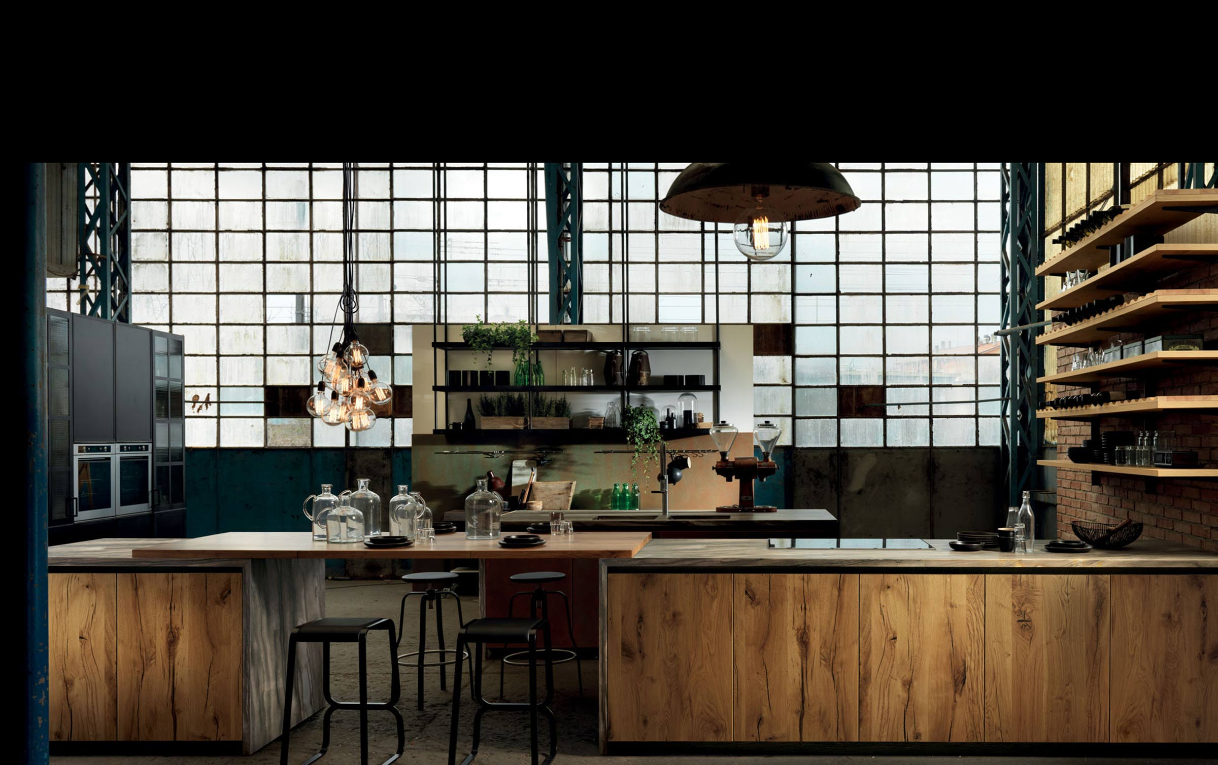 cuisine style atelier industriel. Black Bedroom Furniture Sets. Home Design Ideas